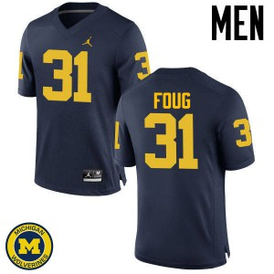 Michigan Wolverines #31 James Foug Men's Navy College Football Jersey 702262-611