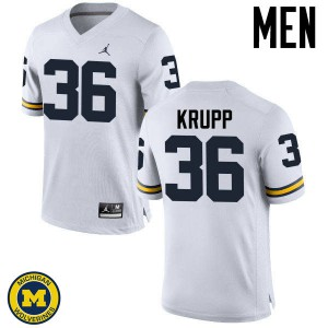 Michigan Wolverines #36 Taylor Krupp Men's White College Football Jersey 215147-411