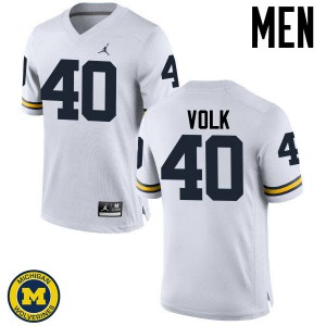 Michigan Wolverines #40 Nick Volk Men's White College Football Jersey 435337-744