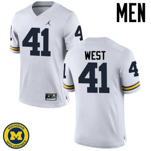 Michigan Wolverines #41 Jacob West Men's White College Football Jersey 949078-549