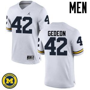 Michigan Wolverines #42 Ben Gedeon Men's White College Football Jersey 219175-166