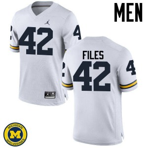 Michigan Wolverines #42 Joseph Files Men's White College Football Jersey 452334-134
