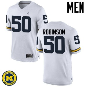 Michigan Wolverines #50 Andrew Robinson Men's White College Football Jersey 383181-714