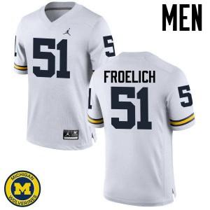 Michigan Wolverines #51 Greg Froelich Men's White College Football Jersey 366461-343