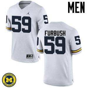 Michigan Wolverines #59 Noah Furbush Men's White College Football Jersey 436838-484