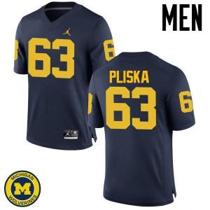 Michigan Wolverines #63 Ben Pliska Men's Navy College Football Jersey 267909-669