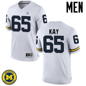 Michigan Wolverines #65 Anthony Kay Men's White College Football Jersey 851955-164