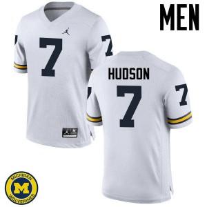 Michigan Wolverines #7 Khaleke Hudson Men's White College Football Jersey 787013-209