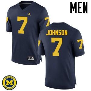 Michigan Wolverines #7 Shelton Johnson Men's Navy College Football Jersey 505770-701