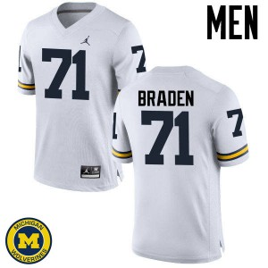 Michigan Wolverines #71 Ben Braden Men's White College Football Jersey 500490-591