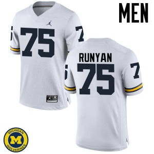 Michigan Wolverines #75 Jon Runyan Men's White College Football Jersey 395275-218