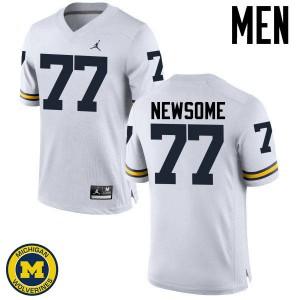 Michigan Wolverines #77 Grant Newsome Men's White College Football Jersey 148811-886