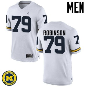 Michigan Wolverines #79 Greg Robinson Men's White College Football Jersey 869565-969