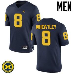 Michigan Wolverines #8 Tyrone Wheatley Men's Navy College Football Jersey 378820-470