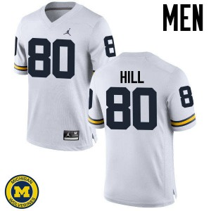 Michigan Wolverines #80 Khalid Hill Men's White College Football Jersey 405427-843
