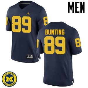 Michigan Wolverines #89 Ian Bunting Men's Navy College Football Jersey 567297-491