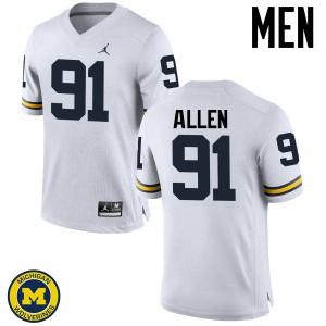 Michigan Wolverines #91 Kenny Allen Men's White College Football Jersey 781472-211