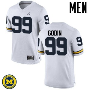 Michigan Wolverines #99 Matthew Godin Men's White College Football Jersey 759703-248