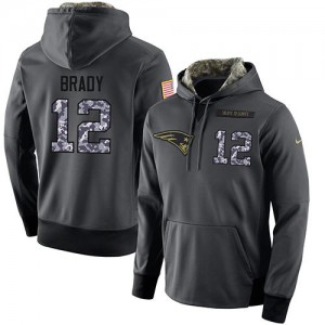 New England Patriots #12 Tom Brady Men's Stitched Salute to Service Black Anthracite Player Performance Hoodie 837959-865