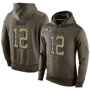 New England Patriots #12 Tom Brady Men's Stitched KO Performance Green Olive Salute to Service Hoodie 926269-776