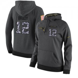 New England Patriots #12 Tom Brady Men's Stitched Salute to Service Black Anthracite Player Performance Hoodie 802799-334