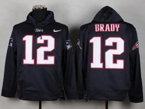 New England Patriots #12 Tom Brady Men's Blue Pullover Hoodie 279186-432