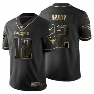 New England Patriots #12 Tom Brady Men's Black Golden Limited 100 Jersey 905687-576