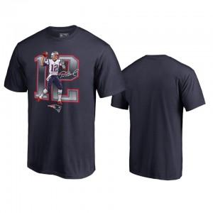 New England Patriots #12 Tom Brady Men's Navy Player Graphic Powerhouse T-Shirt 164695-888