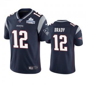 New England Patriots #12 Tom Brady Men's Navy Super Bowl LIII Champions Vapor Limited Jersey 359263-290