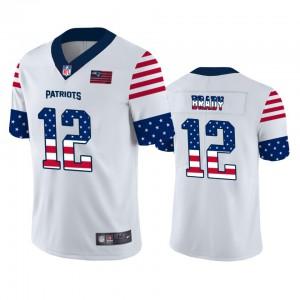 New England Patriots #12 Tom Brady Men's White Team Logo USA Flag Vapor Untouchable Limited Jersey 738723-338