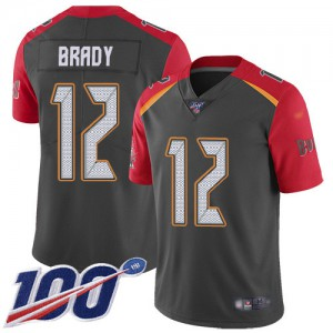 Tampa Bay Buccaneers #12 Tom Brady Youth Gray Inverted Legend 100th Season Stitched Limited Jersey 503106-546