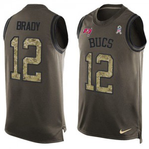 Tampa Bay Buccaneers #12 Tom Brady Men's Green Salute to Service Stitched Limited Tank Top Jersey 979859-451