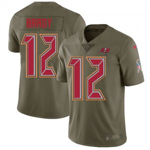 Tampa Bay Buccaneers #12 Tom Brady Men's Olive 2017 Stitched Limited Salute to Service Jersey 472848-937