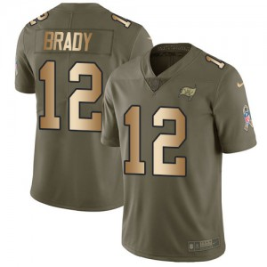 Tampa Bay Buccaneers #12 Tom Brady Men's Olive/Gold 2017 Stitched Limited Salute to Service Jersey 165332-470