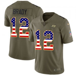Tampa Bay Buccaneers #12 Tom Brady Men's Olive/USA Flag 2017 Stitched Limited Salute to Service Jersey 780935-119