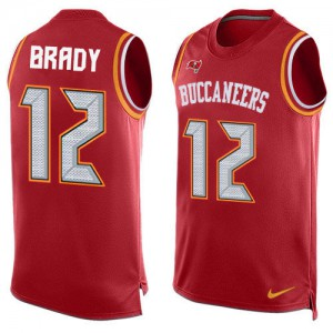 Tampa Bay Buccaneers #12 Tom Brady Men's Red Limited Team Color Stitched Tank Top Jersey 855390-206