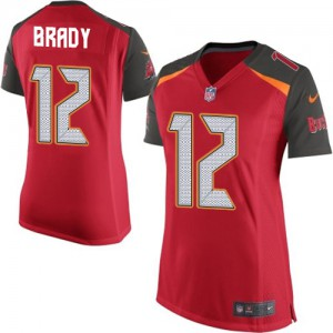 Tampa Bay Buccaneers #12 Tom Brady Women's Red New Team Color Stitched Elite Jersey 514552-808