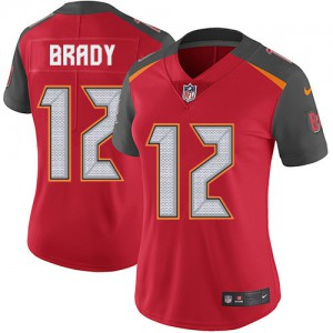 Tampa Bay Buccaneers #12 Tom Brady Women's Red Vapor Untouchable Team Color Stitched Limited Jersey 438437-717