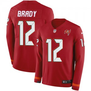 Tampa Bay Buccaneers #12 Tom Brady Youth Red Limited Team Color Stitched Therma Long Sleeve Jersey 807731-974