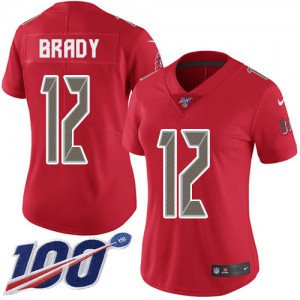Tampa Bay Buccaneers #12 Tom Brady Women's Red Rush 100th Season Stitched Limited Jersey 427468-550