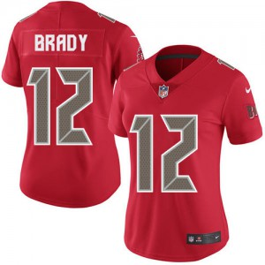Tampa Bay Buccaneers #12 Tom Brady Women's Red Rush Stitched Limited Jersey 923536-528