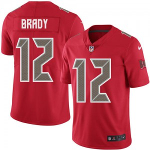 Tampa Bay Buccaneers #12 Tom Brady Youth Red Rush Stitched Limited Jersey 694221-317
