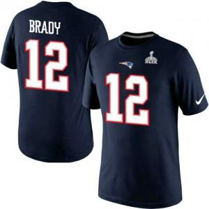 New England Patriots #12 Tom Brady Men's Pride Super Bowl XLIX Name & Number 2015 Navy Blue T-Shirt 831373-718