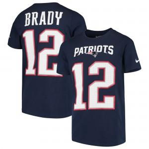 New England Patriots #12 Tom Brady Men's Player Pride 3.0 Name & Number Navy T-Shirt 208029-171