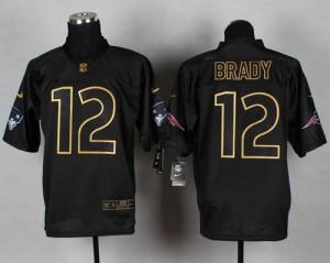 New England Patriots #12 Tom Brady Men's Black Elite Gold No. Fashion Stitched Jersey 579766-161