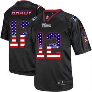 New England Patriots #12 Tom Brady Men's Black USA Flag Fashion Stitched Elite Jersey 186144-327