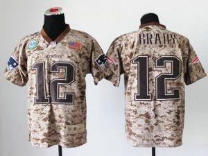 New England Patriots #12 Tom Brady Men's Camo Elite Stitched New USMC Jersey 393164-256