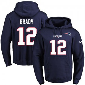 New England Patriots #12 Tom Brady Men's Navy Blue Name & Number Pullover Hoodie 607481-348