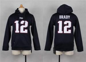 New England Patriots #12 Tom Brady Men's Navy Blue Player Hoodie 524664-507