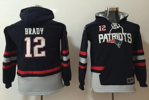 New England Patriots #12 Tom Brady Men's Navy Blue/Grey Name & Number Pullover Hoodie 176900-739